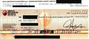 assegno privacy