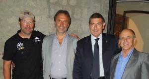 Marco Canunzi Presidente scuola Indoor Cycling ; Luciano Cimarello Sindaco di Montefiascone; On Bruno Molea Presidente nazionale AICS; Raimondo Chiricozzi Presidente prov AICS